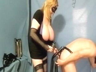 Big tit female-dominator spanking his a-aperture