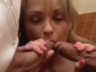 Ivana Sugar tries to place two big dicks in her mouth