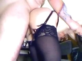 Teen in stockings fucks a bike biker
