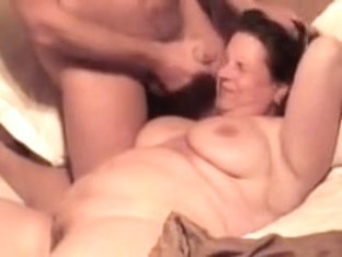 Fat aged woman gets facial