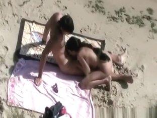 Skinny nudist blows cock and fucks