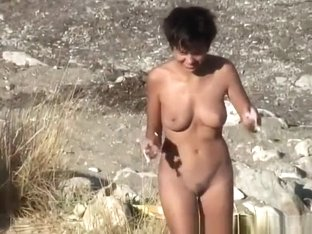 Nudist woman with perky tits