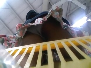 Hidden camera in supermarket basket catches asian's ass