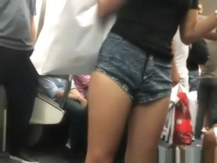 Girl in tight jeans shorts