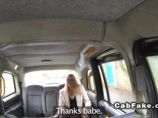 Huge tits blonde in pantyhose bangs in cab