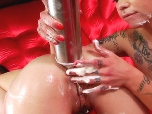 Enema babe squirts out creme with lesbian