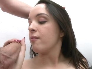 Cute girl does her first facial and we...
