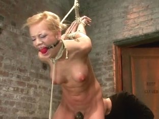 Stappado'd, elbows together, legs spread, nipples clamped & weighted, flogged, made to cum & suffe.