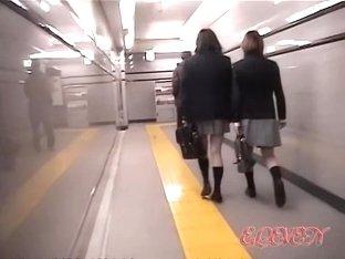 Cute Japanese schoolgirls in a kinky sharking video