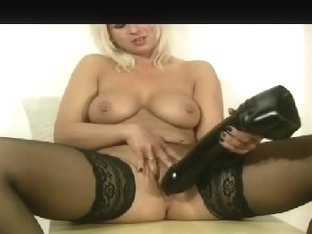 Dirty porn video with sexy broad who rides huge dildo