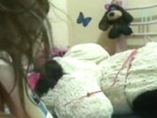 Curvy Latin girl masturbates on a webcam show