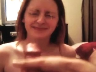 Sexy gf takes ejaculation on tits and face