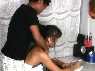 Filipino school t-girl gets her asshole filled with man meat