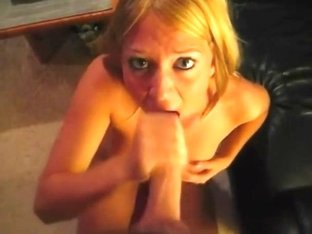 Blonde teases his dick with her mouth
