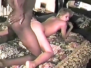 Blonde babe fucks a big black dick.
