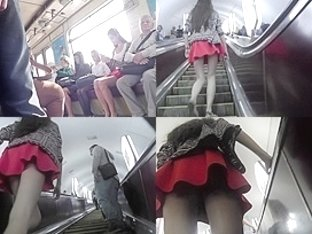 Skinny gal with brunette hair caught in public upskirt