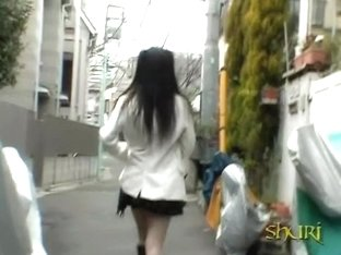 Alley sharking odyssey of very surprised Japanese little babe