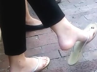 Candid Brunette Feet Shoeplay Dangling Flip Flops Outside