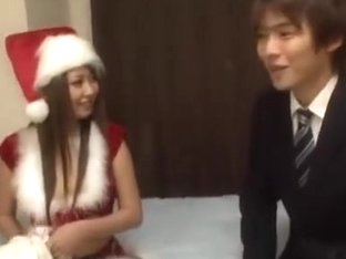 Asian girl gets a creampie as Christmas present