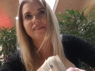 Cute amateur student offered money for sex in a public place