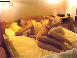 Wife warms up with a huge dildo, before getting fucked missionary and cowgirl style.