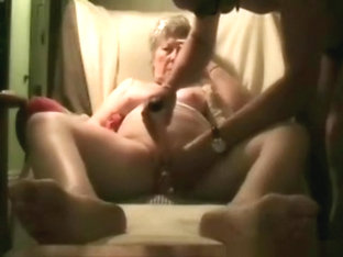 Big boobed short haired gilf gets her shaved pussy masturbated with a vibrator by her husband and .