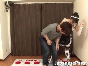 Sex starved Japanese couple have a sexy game of twister