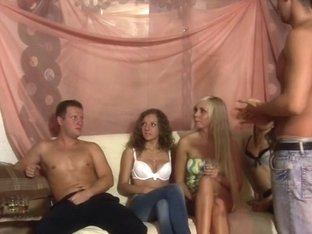 Allysin Moore & Cofi & Lucille & Monica B. & Stacey Silver in hot college sex scene with a bunch o.