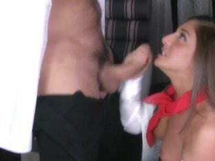 Naughty Mischa Brook shows her sucking skills with big cock!