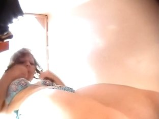 Hot shaved pussy peeped by a voyeur