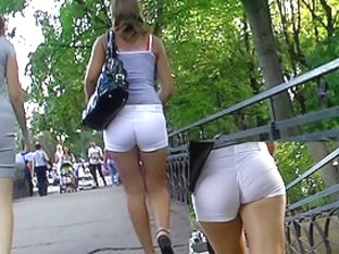 Flawless white shorts booty