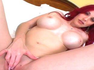 Slutty curvy redhead Neesa swallows cum in pov