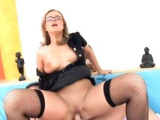 Uniformed sex in nylons a garter and heels