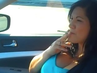 Christina Smoking VS120 in Car