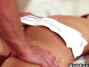 Beautiful babe sucks masseurs dick