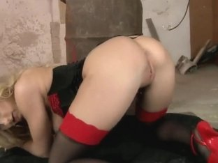 Blonde Anita Hengher masturbates and licks fingers