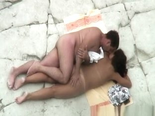 Nudist man gropes his woman
