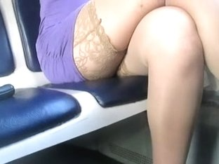 Flashing stockings in a train
