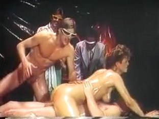 80s porn queen spreads her pussy wide then has hot fuck with four dudes