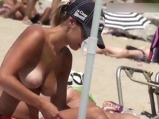 Topless Blonde On beach