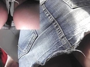 Erotic jeans up petticoat on the transport