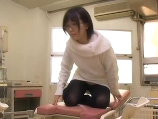 Nerdy Japanese crammed and creamed in medical fetish video