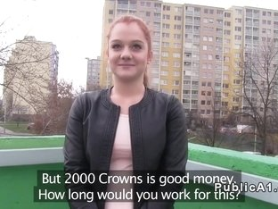 Redhead Euro student bangs pov in public
