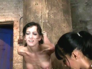 Elise is held down by her own HUGE nipples, held down on a Sybian!Any movement is nipple PAIN!