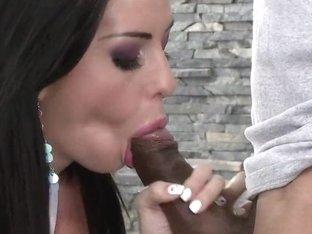 Larissa Dee sucks off this plumber's black pipe