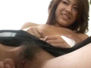 Hairy Japanese whore gets her beaver fingered