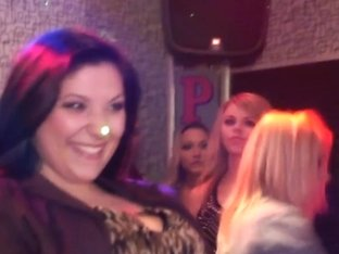Flashing amateur babes doggystyling in a club