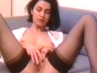 Slut was wearing hot black stockings while masturbating
