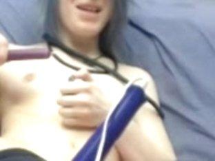 Masturbating while getting hot wax on boobs