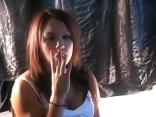 Hot redhead girlfriend smokes in my bedroom on cam